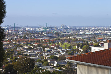 Port of Long Beach California and industrial area.