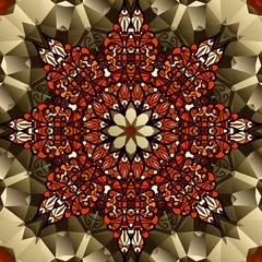Kaleidoscope design. Mandala lotus flower symbol. Stylized