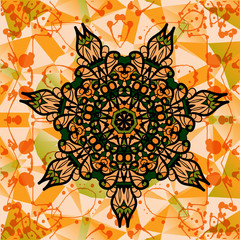 Colorful mandala over multicolored background of triangles