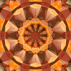 Seamless brown kaleidoscope mandala design