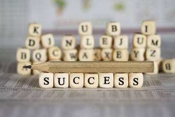 success word on newspaper background