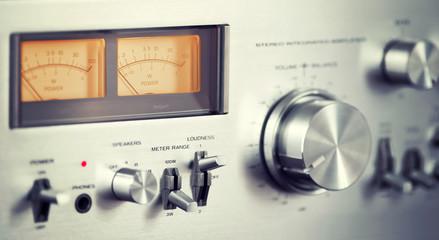 Vintage Stereo Audio Amplifier Front Panel Volume Knob