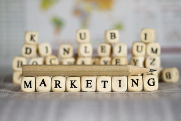 marketing word on newspaper background
