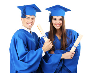 Graduate students wearing graduation hat and gown, isolated