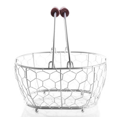 Metal basket isolated on white