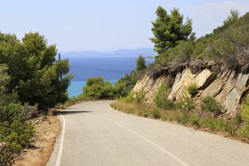 Beautiful mountain road on Aegean coast.