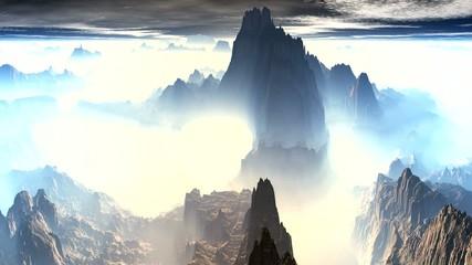 Mountain peaks of fog
