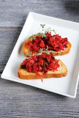 summer bruschetta with tomatoes