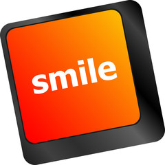Computer keyboard with smile words on key - business concept