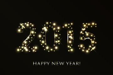 Vector 2015 Happy New Year background with gold sparkles