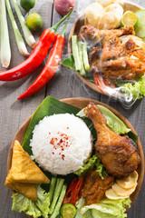 Southeast Asian food nasi ayam penyet