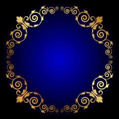 Vector gold floral frame on blue background