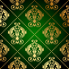 Vector green wallpaper with gold ornament