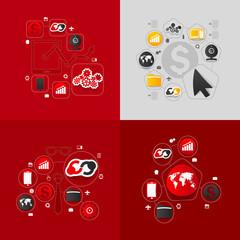 Set of sticker design. High-tech business concept