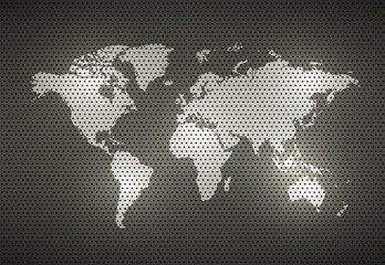 World Map Metal texture, vector illustration