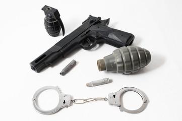 Grenade Bullets Gun and Handcuffs