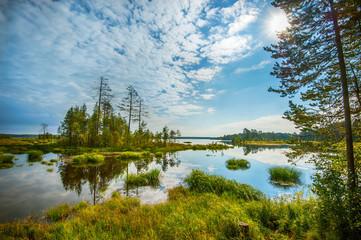 Autumn landscape with Salmon lake in Karelia, Russia