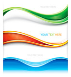 Fototapety Collection of wave curve shape banner background.