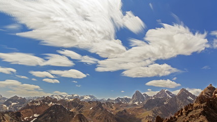 Bright summer landscape. Clouds blurred. Time Lapse. 4K