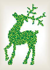 green mosaic tiles christmas reindeer silhouette