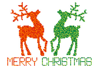 color vector pixels christmas reindeer
