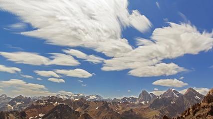 Summer landscape. Zoom. Clouds blurred. TimeLapse