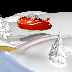 Santa Flying In Jet Powered Sleeigh