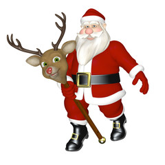 Santa Riding Stick Reindeer