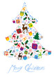 christmas tree made of colorful vector icons