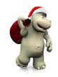 canvas print picture - Cartoon hippo carrying a santa bag.