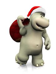 Cartoon hippo carrying a santa bag.