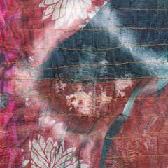 square pattern on stitched silk batik