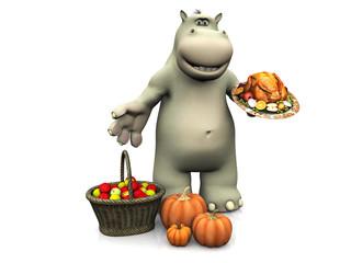 Cartoon hippo celebrating Thanksgiving.