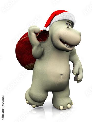 canvas print picture Cartoon hippo carrying a santa bag.