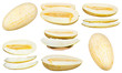set of sliced Uzbek-Russian Melons isolated