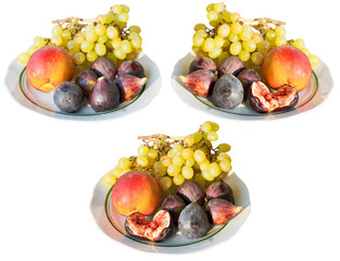 set of seasonal fruits on plates isolated