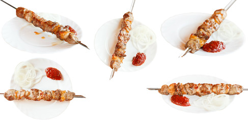set of skewers with lamb shishkebab isolated