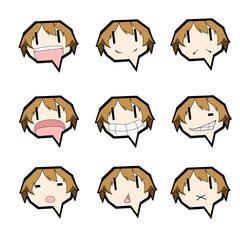 吹き出しキャラクター/表情セット/男の子