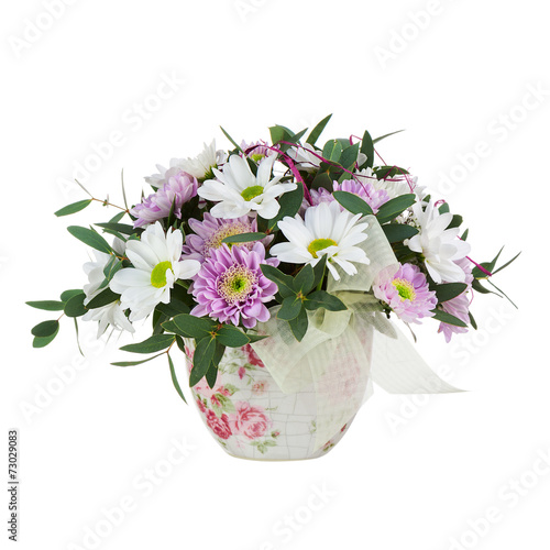 canvas print picture Bouquet from Gerbera Flowers in Vase Isolated on White Backgroun