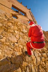 Santa climbing