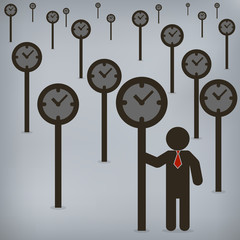 Businessman time control,  Vector illustration for concept, pres