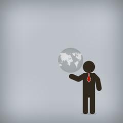 Businessman world control,  Vector illustration for concept, pre