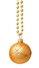 Hanging golden christmas ball isolated