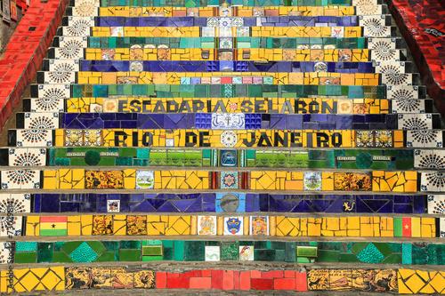 Tuinposter Rio de Janeiro Tiled Steps at lapa in Rio de Janeiro Brazil