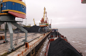 Ship with coal at Kolyma river port