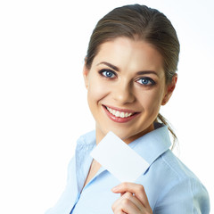 Close up face business woman isolated white background.