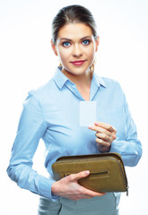 Smiling business woman showing credit card.