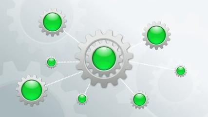 infographic rotating metal gears loop