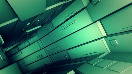 camera flight through a green technological tunnel