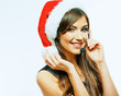 Santa Woman call center operator. Cristmas business woman portr